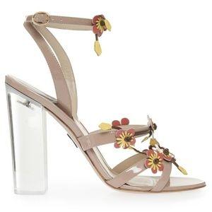 Paul Andrew Flora Lucite Heel Leather Sandals
